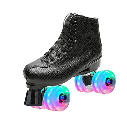 MSMAX Women's Quad Roller Skates Indoor Outdoor Speed Skate for Men,Black 10.5 M US Women