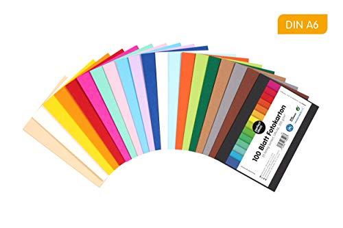 perfect ideaz cartulina cuché A6 de colores 100 hojas, cartulina, de color, en 20 colores diferentes, grosor de 300g/m², hojas de la máxima calidad