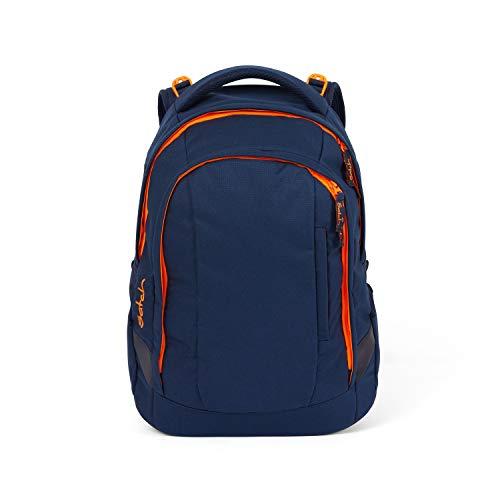 Satch sleek Schulrucksack - ergonomisch, 24 Liter, extra schlank - Toxic Orange - Dunkelblau