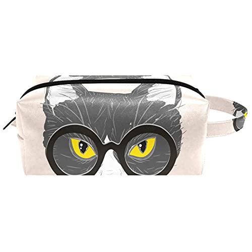 Bolsa de cosméticos para mujer, diseño de gato dibujado a mano con gafas negras para cosméticos, bolsa de aseo portátil, bolsa de aseo de viaje, bolsa de maquillaje impermeable para niños