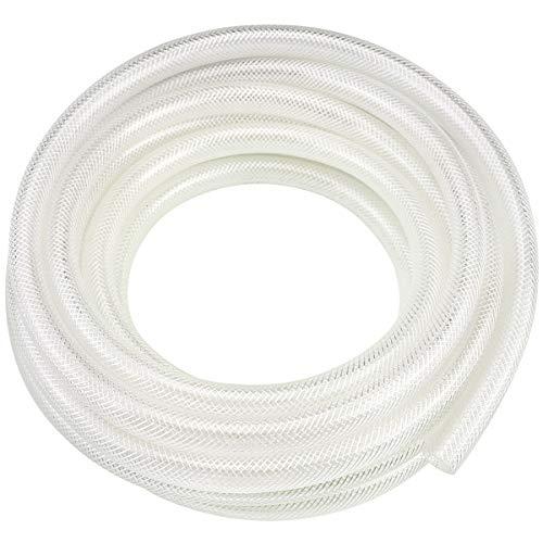3/8' ID x 25 Ft High Pressure Braided Clear PVC Vinyl Tubing Flexible Vinyl Tube, Heavy Duty Reinforced Vinyl Hose Tubing, BPA Free and Non Toxic