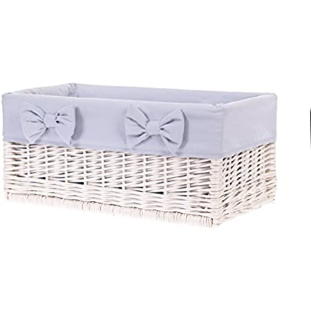 Corbeille en osier blanc ,panier en osier,Corbeille de rangement,housse amovible en tissu GRIS decorative