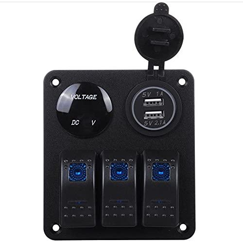 Milkvetch Barco Coche RV Led Interruptor Basculante de 3 Bandas Panel de Control 12V con Cargador USB Dual 3.1A y Voltímetro de Pantalla Digital
