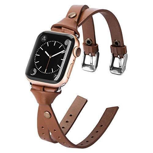 Ownaco Compatible con Apple Watch SE de 42 mm y 44 mm, pulsera de piel fina marrón claro, pulsera de repuesto para iWatch Serie 6/5/4/3/2/1.