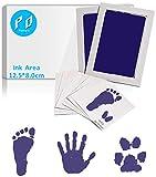 [2er Set Big] Baby Fussabdruck Set, Baby Abdruckset für Neugeborene, Baby Handabdruck und Fußabdruck Set Clean Touch Stempelkissen, Baby Handprint, Babyhaut nicht mit Farbe in Berührung, Navy blau