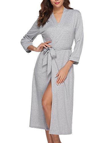 Abollria Bata para Mujer Algodón con Escote en V Albornoz de Kimono de Mujer Ropa de Dormir con Cinturón Gris,XL