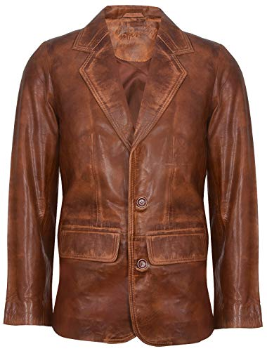 Men's Tan Genuine Leather Blazer Soft Real Italian Tailored Vintage Jacket Coat XL
