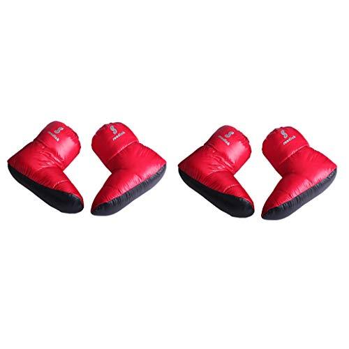 perfeclan 2 Pares de Zapatillas de Plumón Botines Cálidos de Invierno Calzado para Tienda - Rojo, L