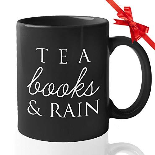 Birthday Coffee Mug - Tea Books & Rain - Celebration Confetti Present Gift For Women Daughter Her Mom Wife Aunt Grandma Girlfriend Sister Best Friend
