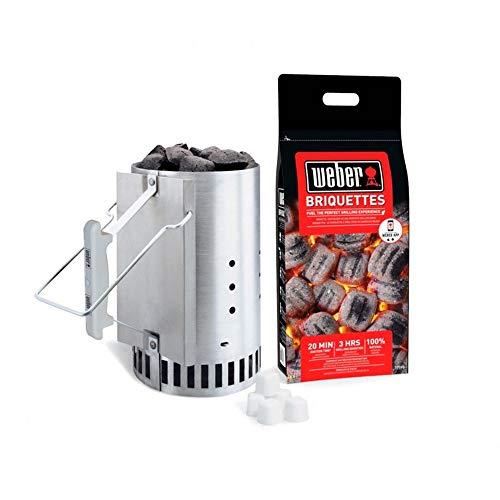 weber kit ciminiera di accensione 17631 con 2 kg di bricchette e 3 accendi fuoco