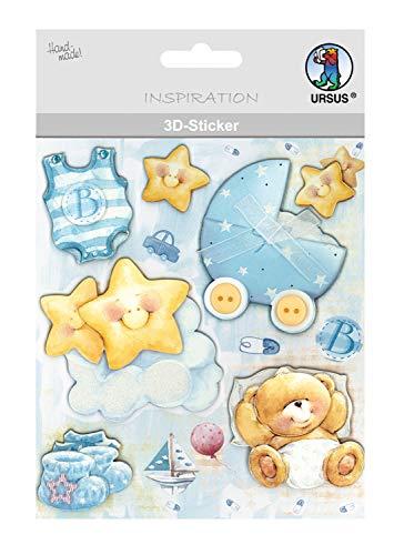URSUS 564200125 3D-sticker baby, bestaande uit meerdere lagen, hoogwaardige materialen, zelfklevend, voor het versieren van wenskaarten, scrapbooking en voor andere knutselwerk, kleurrijk, één maat