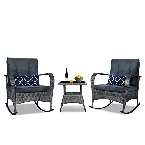 3 Pieces Patio PE Rattan Conversation Chair Set, Outdoor Furniture Rocking Chair Set with...