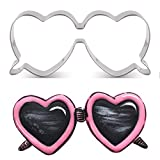 LILIAO Heart Shape Sunglasses Cookie Cutter Summer Beach Fondant Biscuit Cutter - 3.6 x 1.6 inches - Stainless Steel