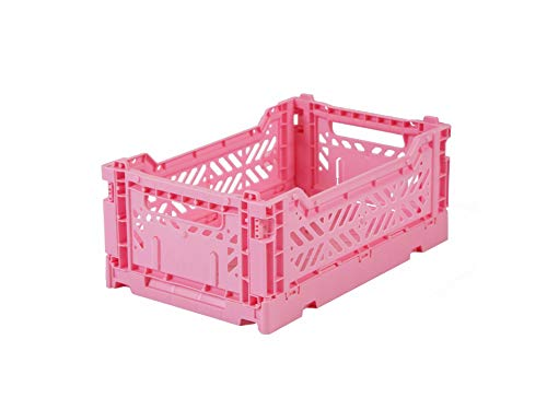 Ay-Kasa Klappkiste, stabile Faltkiste aus Kunststoff, stapelbar, Baby pink, Mini (27x17x11cm)