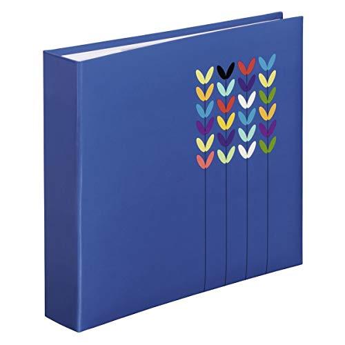Hama Einsteckalbum Blossom, Fotoalbum für 200 Fotos im Format 10x15, Fotobuch mit Beschriftungsfeld zum selbstgestalten, Album zum einstecken, 22x22 cm, blau