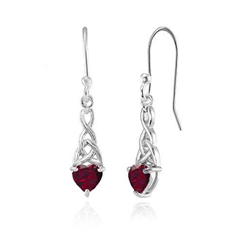 Sterling Silver Created Ruby 6x6mm Dainty Heart Celtic Knot Dangle Earrings