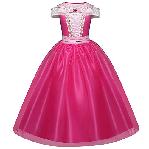 TXYFYP Niña Princesa Aurora Vestido Bella Durmiente Disfraz Cosplay Halloween Navidad Cumpleaños Disfraz Vestido Fit para Edad 3-10 Años - Rosa, 110cm