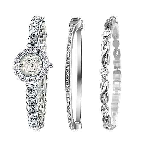 Clastyle Conjunto Reloj Mujeres Plata Diamante de Imitación Relojes Pulsera Mujer Pequeño con 2 Brazaletes Elegante, Blanco