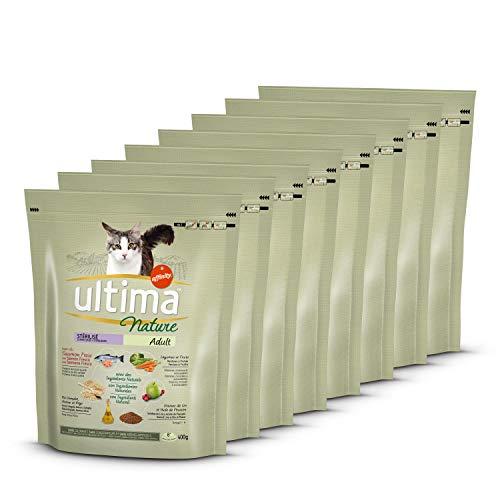 Ultima Nature Pienso para Gatos Esterilizados con Salmón, Pack de 8 x 400g - Total: 3.2kg