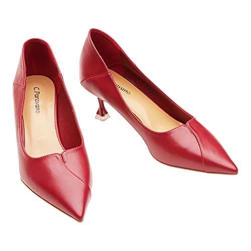 C.PARAVANO Low Heels for Women I Red Kitten Heels I Low Heel Pumps I Women's Pump I Kitten Heels for Women I Red Low Heels 2.16 inch I Pointed Toe Pumps(Red,39)