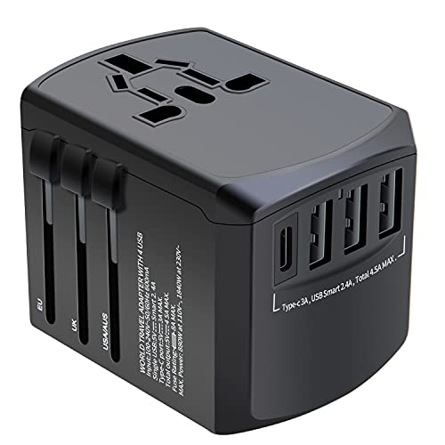Travel Adapter, Universal Plug Adapter for Worldwide Travel, International Power Adapter, Plug Converter with 4 USB Ports, All in One 3.0A USB C Wall Charger AC Socket for EU UK AUS Asia Phone Laptop