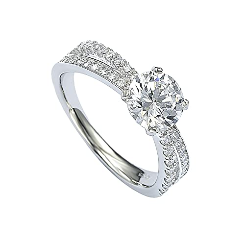 Gemopia 2mm 925 Sterling Silver Ring Women's Engagement Rings Cubic Zirconia Eternity Wedding Ring for Anniversary (Size 7)
