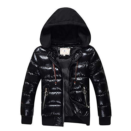 SXSHUN Niños Chaqueta Impermeable de Invierno Snow Jacket Abrigo de Nieve Acolchado de Algodón con Capucha Desmontable, Negro, 12-14 años (Etiqueta: 160cm)