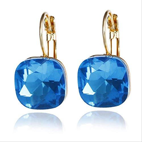 Para las mujeresPendientes de cristal Pendientes de aro de cristal de diamantes de imitación austríacos Pendientes de corte cúbico Pendientes femeninos regaloe0257lanse