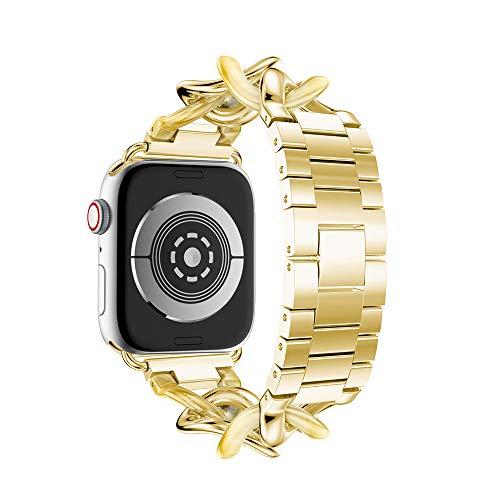 TPulling Bracelet de Montre pour Apple Watch Series 4 40 mm Triangle (tirage) Bracelet de Montre en Acier Inoxydable avec Boucle de Rechange (40 MM), Or