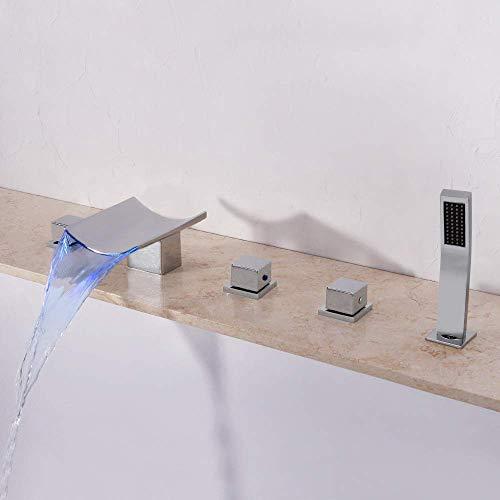 ZYY Moderna de cobre caliente y frío de Split 5 agujero Grifo de baño del cromo de lavabo grifo de la bañera de control de temperatura de color Iluminación Tire ducha de mano hermoso determinado práct