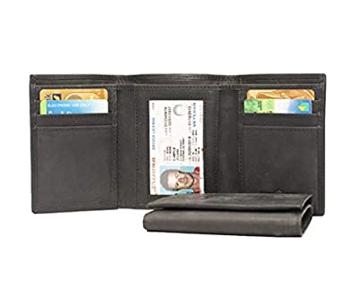 Leather RFID Blocking Men's Tri-fold wallet (Anthracite Crazy Horse)
