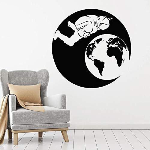 Tianpengyuanshuai Astronaut Wandtattoo Astronaut Raumfahrtprogramm Planet Creative Vinyl Sticker-42X42cm