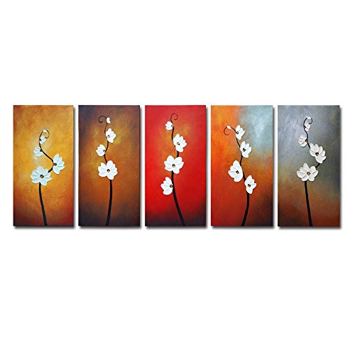 Wieco Art Colorful Flowers Oil Painting on Canvas Wall Art Ready to Hang for Living Room Bedroom Home Decoration Modern 5 Piece 100% Hand Painted Gallery Wrapped Contemporary Abstract Floral Artwork
