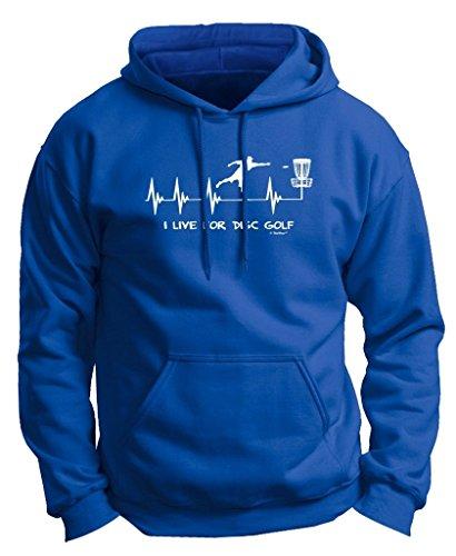 Disc Golf Gift I Live Disc Golf Heartbeat Heart Premium Hoodie Sweatshirt Large Royal