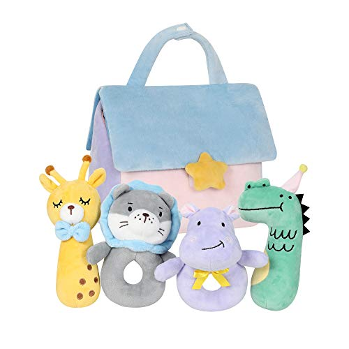 TILLYOU 4 PCS Soft Baby Rattle for Newborns Plush Stuffed Animals Rattle Shaker Set for Infants Shower Gifts for Girls Boys Shaker amp Teether Toys for 3 6 9 12 Months House Set