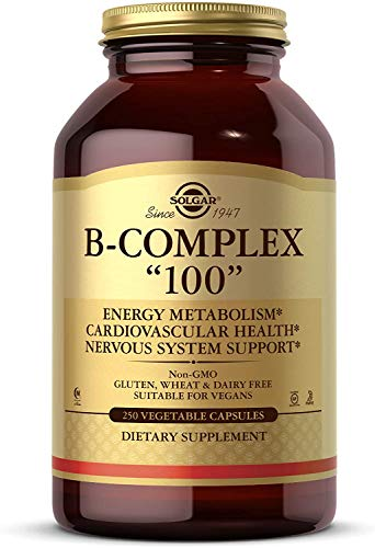 """Solgar B-Complex """"100"""", 250 Vegetable Capsules - Heart Health - Nervous System Support - Supports Energy Metabolism - Non-GMO, Vegan, Gluten Free, Dairy Free, Kosher, Halal - 250 Servings"""