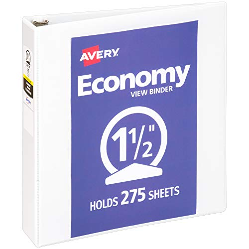 Avery 1.5' Economy View 3 Ring Binder, Round Ring, Holds 8.5' x 11' Paper, 1 White Binder (5726)