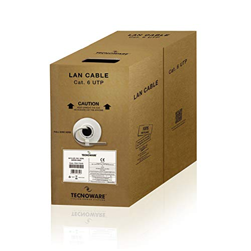 Tecnoware Power Systems Bobina de Cable de Red, Ethernet y LAN Cat 6 Utp PVC de Cobre, Sistema de extracción antienredos, Longitud 305 Metros