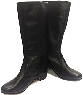 Black Russian leather boots women dance shoes Cossack boots