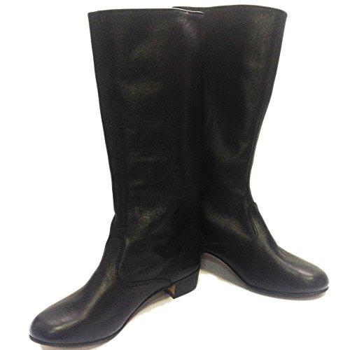 Black Russian leather boots women dance