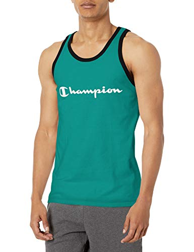 Champion Classic Jersey Graphic Tank Camiseta, Off The Grid Verde/Negro, S para Hombre