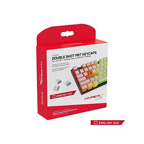 HyperX HXS-KBKC4 Transparente Double Shot PBT Gaming Keycaps - Kompatibel mit HyperX mechanischen Gaming-Tastaturen, mit HyperX Keycap Entfernungs-Tool, Weiß (US Layout)