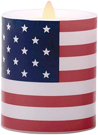 Flameless Candles Battery Operated American Flag Pillar Candles with Timer and Remote to Buy product image
