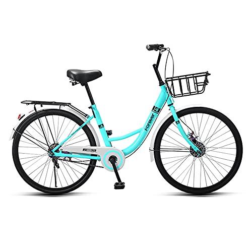 Bicicleta, Bicicleta de Ocio Urbano, Bicicleta de una Sola Velocidad, Marco de Poca Envergadura, NeumáTico SóLido de 24 Pulgadas, Asiento ErgonóMico, Que Pueden Usar Tanto Hombres Como Mujeres