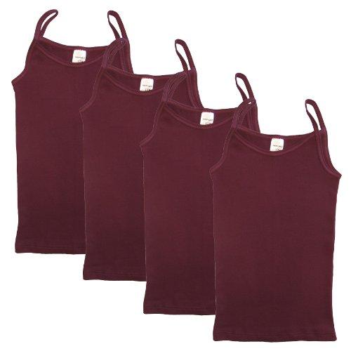 HERMKO HERMKO 2460 4er Pack Mädchen Träger Top, Unterhemd aus Bio-Baumwolle, Farbe:Bordeaux, Größe:104