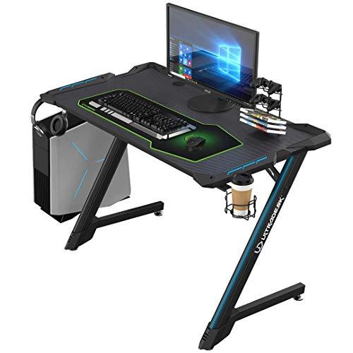 Ultradesk Space V2 - Gaming Tisch mit modernem Design und solidem Stahlrahmen, Gamer Schreibtisch mit LED RGB und Carbon Oberfläche, L: 113cm T: 61cm H: 77cm