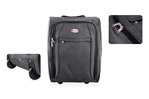 Flight Hand Luggage with Wheels | Lightweight Suitcase Cabin Approved Trolley Bag | 50 X 35 20 cm (Black)