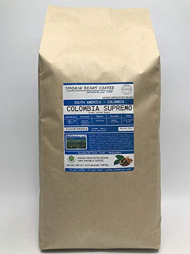 12.5 Pounds – South American - Colombia Supremo – Unroasted Arabica Green Coffee Beans – Grown in Risaralda Region – Altitude 1400-1750M – Drying/Milling Process Is Washed/Sun Dried