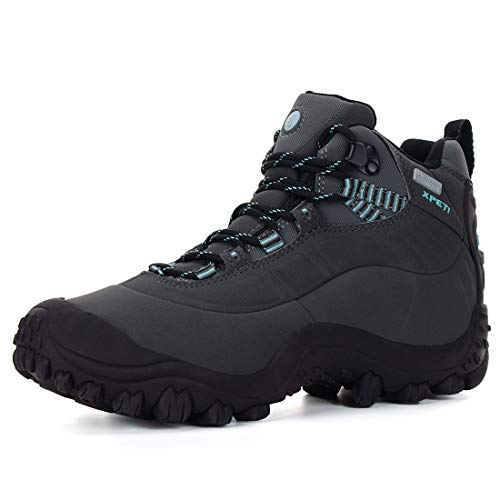 XPETI Women's Thermator Mid Waterproof Hiking Hunting Trail Outdoor Boot Grey/Blue 7.5