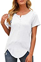 OMSJ Women Button Down Blouse Long Sleeve T Shirts Casual Henley Tunic Tops